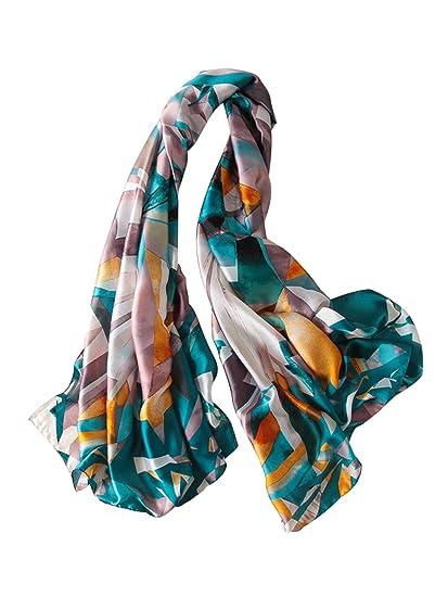 046a8cc0009b DAMILY Femmes Classique Géométrique Foulard en Soie-Felling Léger Châle  Wrap Femelle Mode Accessoire (