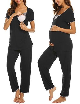 Ekouaer Women Ultra Soft Short Sleeve Maternity & Nursing Pajama Set Pregnancy Sleepwear (Black S