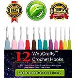 12 Sizes Crochet Hook Set,Ergonomic Grip Crochet Hooks Kit,With Plastic Crochet Hook Case Organizer,Comfort Grip Crochet Needles,More Sizes You Need