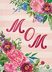 Covido Home Decorative Mom Garden Flag, House Yard Lawn Outdoor Small Flag Double Sided Peony Flowers Sign, Spring Summer Outside Decorations Vintage Decor Flag 12 x 18 Mother's Day Birthday Gift