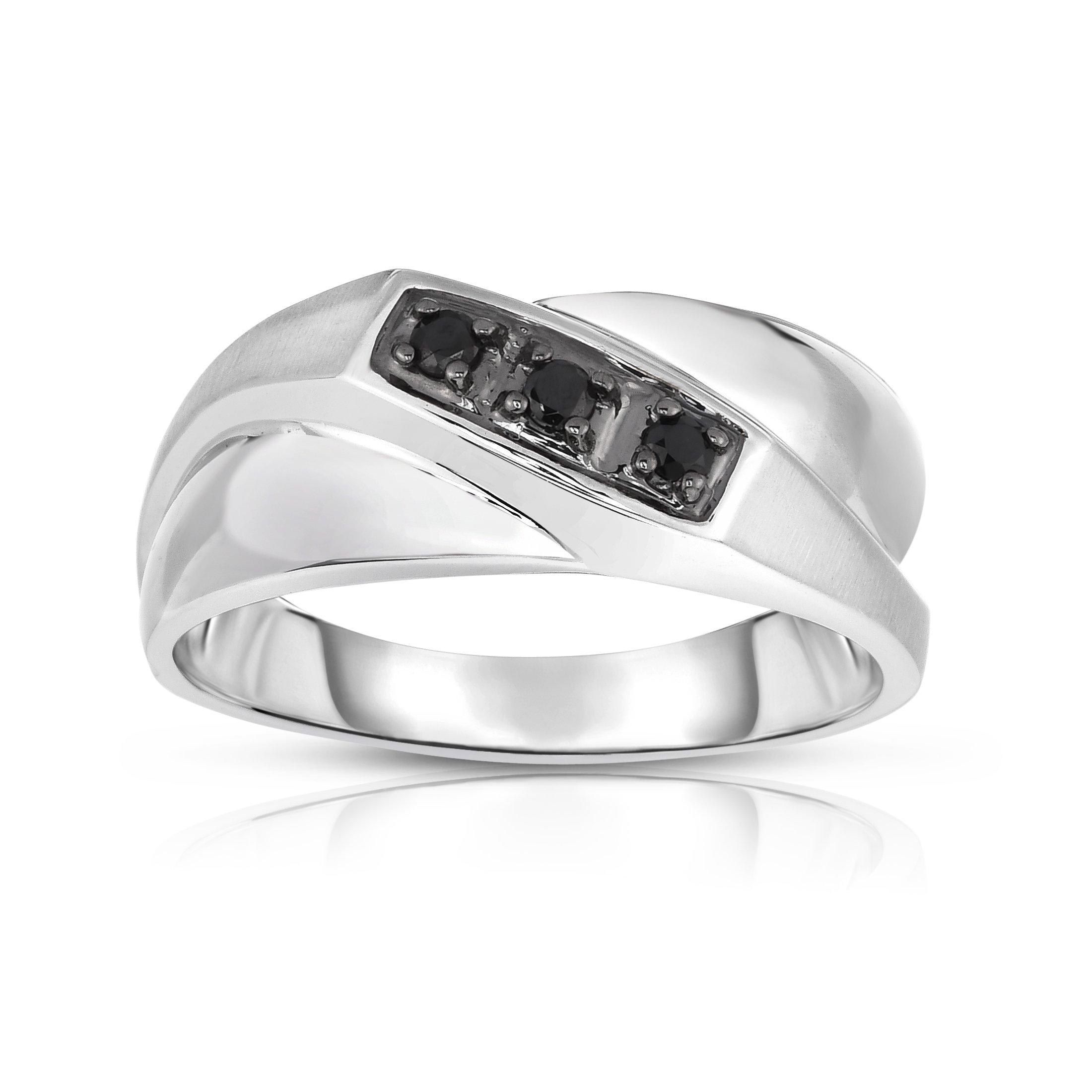 Noray Designs 14K White Gold Black Diamond (0.18 Ct, I1-I2 Clarity, Black Color) Men's 3-Stone Ring
