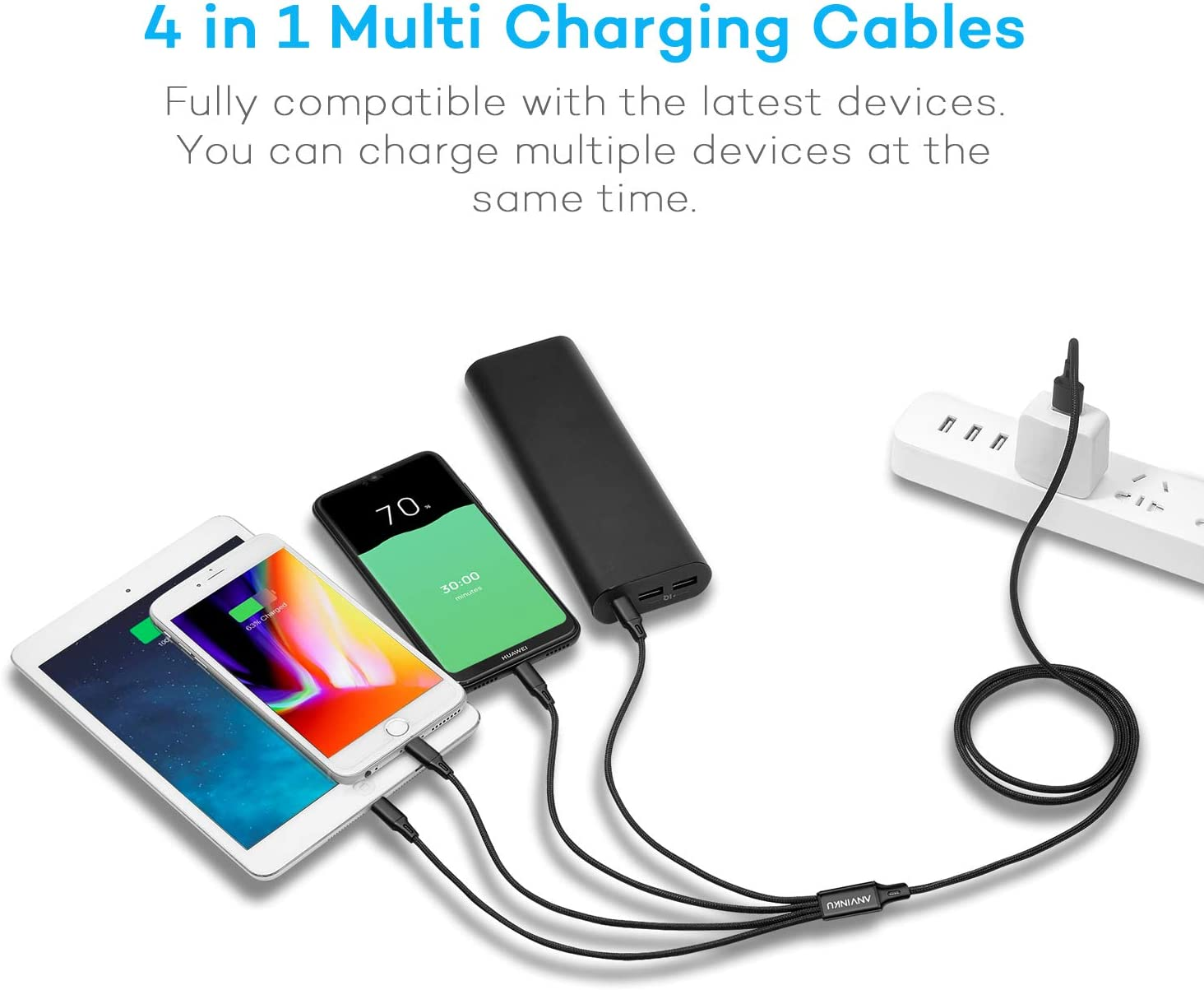 Fejarx Jojos Bizarre Adventure Multi USB Retractable Charging Cable 4ft 3 in 1 Multiple Charger Cord Adapter Micro USB Port Compatible Cell Phones Tablets and More Universal Use B-1