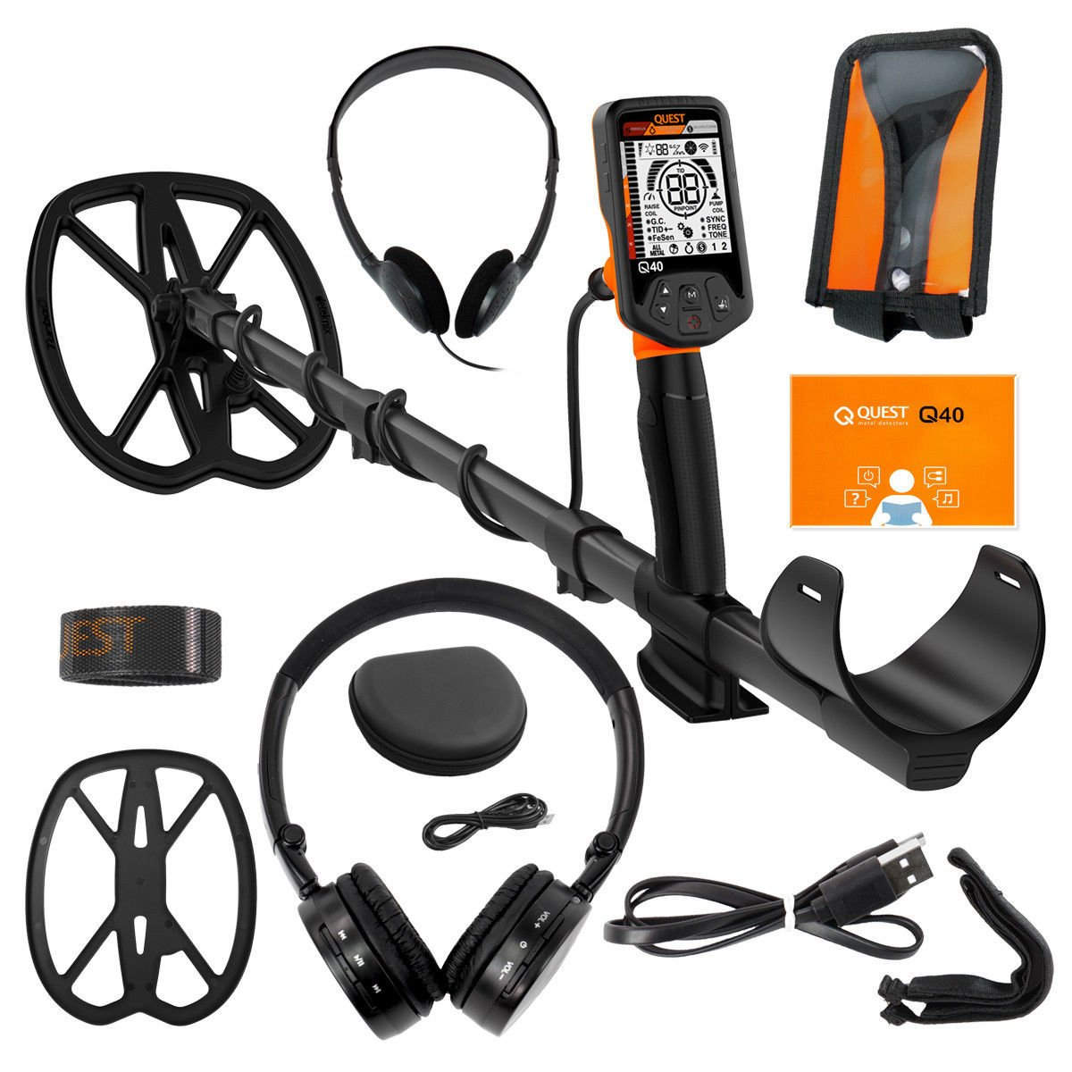 Quest Q40 Metal Detector with 11×9 TurboD Waterproof Search Coil