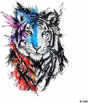WYUEN 5 hojas acuarela tigre tatuaje impermeable temporario ...