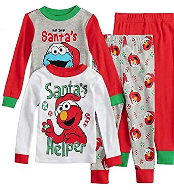 Elmo   Cookie Monster Christmas Pajamas Boys Holiday Santa Pjs 4 pc Toddler  ... 57589d644