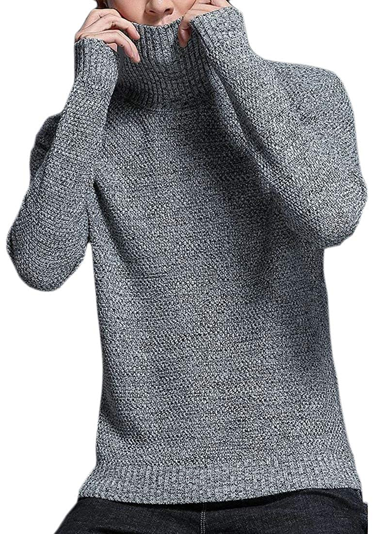 Sayhi Mens Solid Color Turtle Neck Jumper Autumn Pullover Knitted Sweater