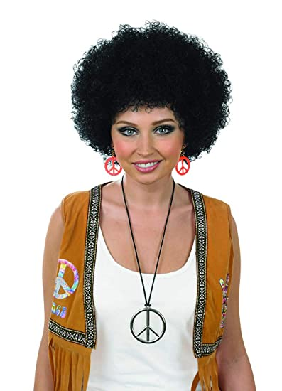 Amazon.com  Adults Black Curly Afro Wig Mens   Womens Pop Hippie 70s Disco  Fever Hair  Clothing 6dd11f2f9