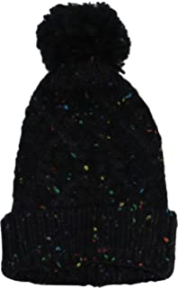 80c2d024345 Steve Madden Speckled Cable Knit Pom Pom Top Cuffed Beanie Hat