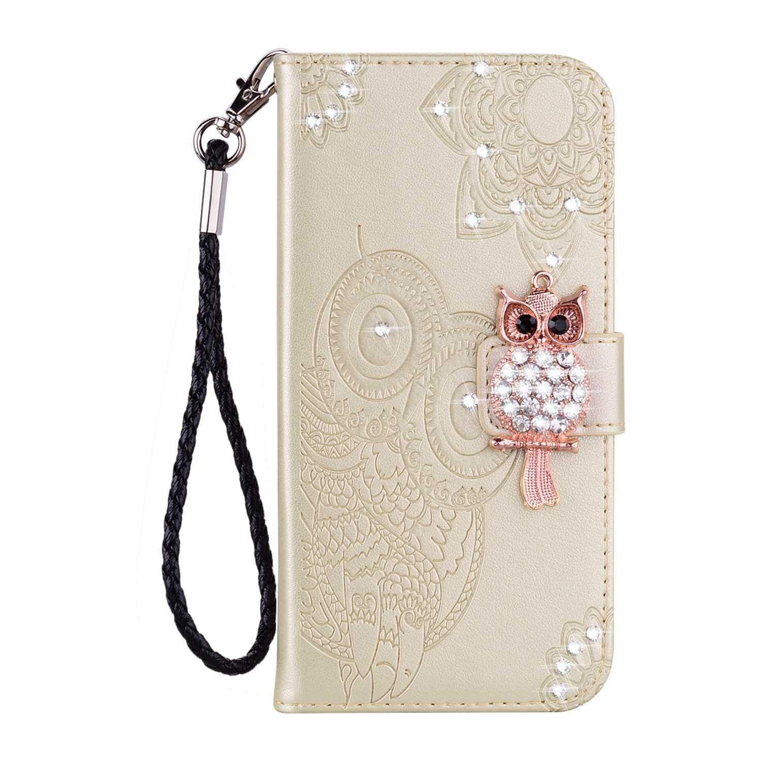 Bear Village iPhone Xs Max Case, Leather Case with Wrist Strap and Credit Card Slot, Owl Magnetic Closure Shockproof Cover for Apple iPhone Xs Max, Gold by Bear Village