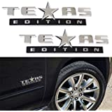iJDMTOY (2) Chrome Finish 3D Texas Edition Emblem Badges For Chevrolet Silverado, GMC Sierra (Also Universal For Ford or Dodge Trucks)