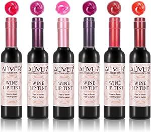 Barra de Labios, 6 Colores Pintalabios Lápiz Labial Mate Impermeable y de Larga Duración Maquillaje de Labios Belleza en Botella de Vino Tinto