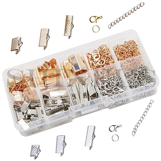 1Set Leather Ribbon Jewelry Making Findings Kit Cord End Crimps Jump Ring Clasps