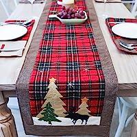 مفرش طاولة عيد الميلاد بتصميم شجرة وغزلان من دوتبت، مناسب للعائلة والعطلة والكريسماس وطاولة عشاء وحفلة عيد الميلاد…