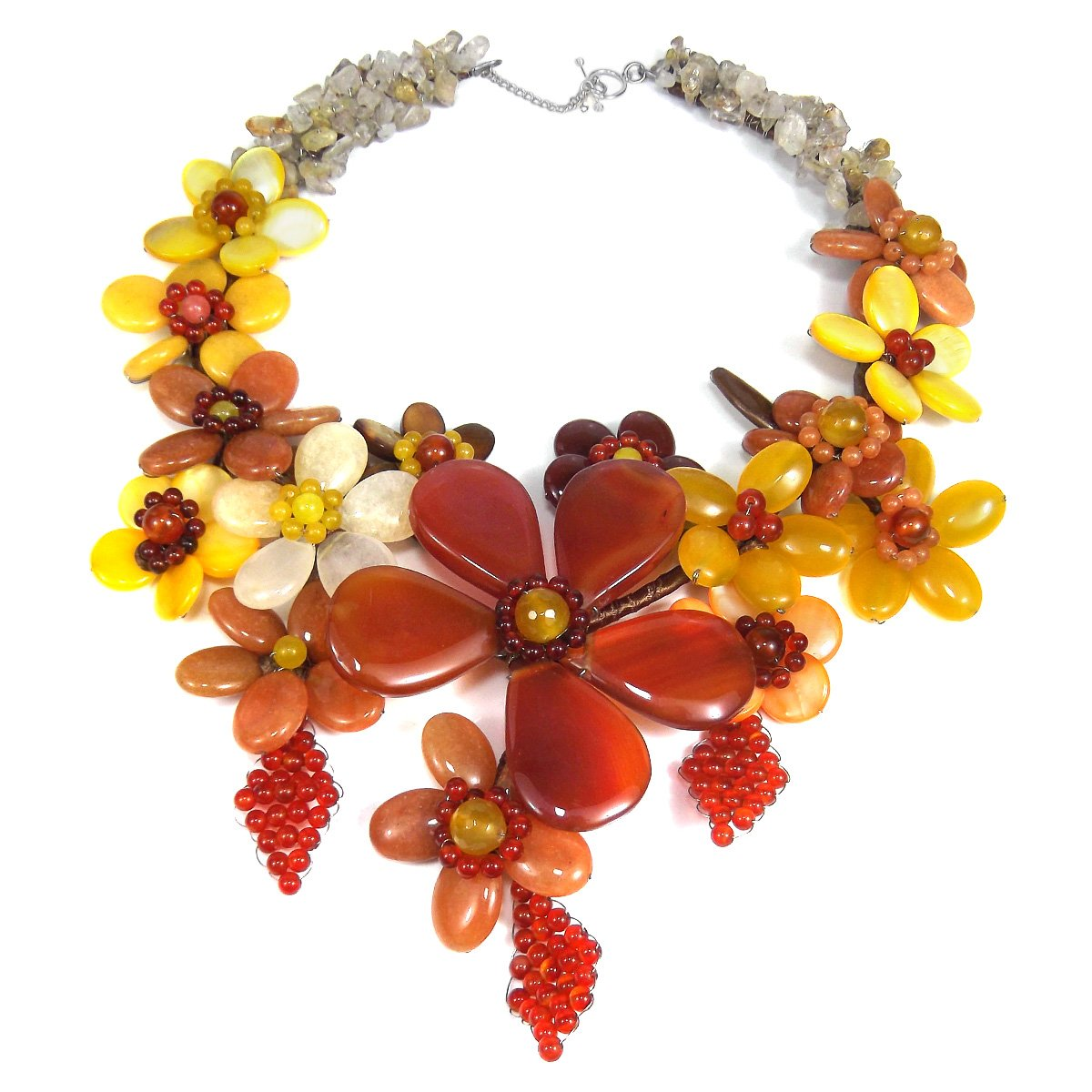 AeraVida Grand Reconstructed Agate & Mix Stone Floral Bouquet Collar Necklace