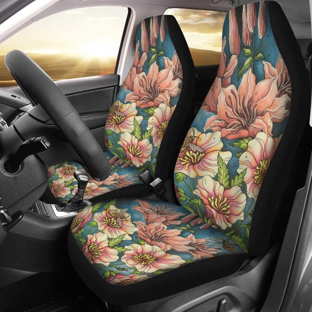Dreaweet Novelty Dragon Print Black Seat Covers for Car Truck SUV Women Dirty-Proof Bucket Cover 2piece Set Easy Wrap