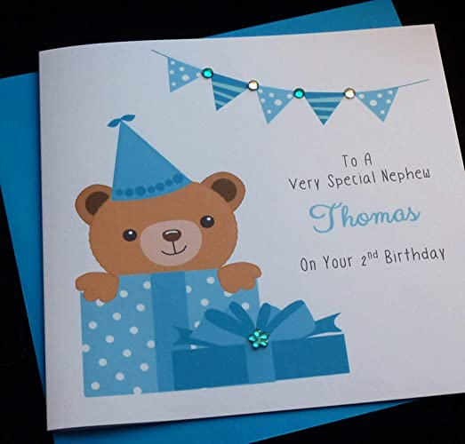 Handmade Personalised Blue Teddy Bear Childrens Birthday Card