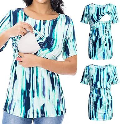 Vestidos para Premamá Vestidos Ropa De Maternidad Mujeres Lactancia Materna Blusa De Manga Corta Tops Camisa De Verano: Amazon.es: Ropa y accesorios