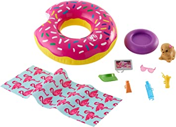 Barbie FXG38 Outdoor Furniture Set with Donut Floatie Really Floats Water-Squ