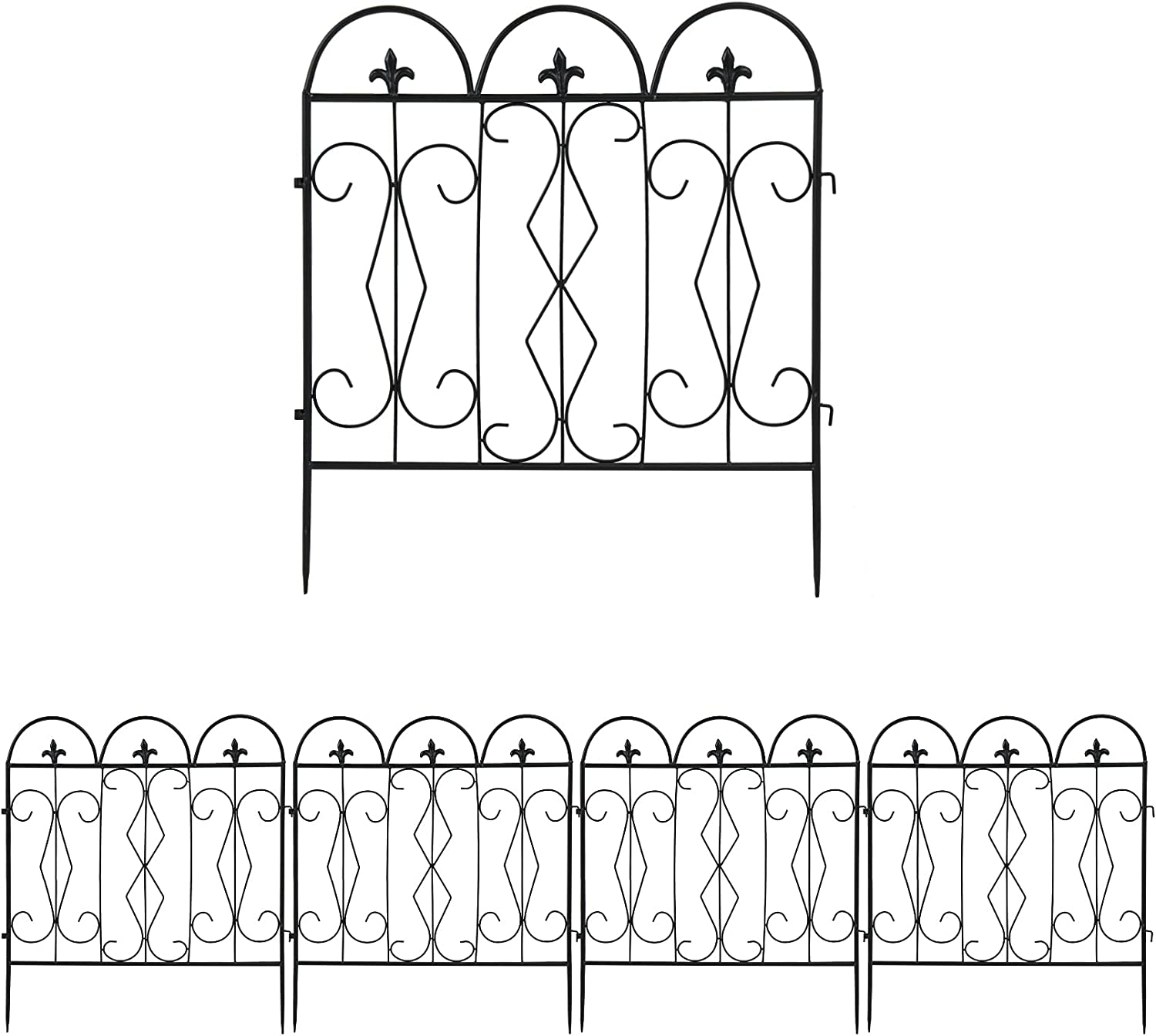 unho Metal Garden Fence, 5Panels Outdoor Decorative Wire Fencing 24x24 inches Lawn Landscape Path Border Garden Flowers Bed Edging Small Pet Fences Barrier Decor, Panel-7