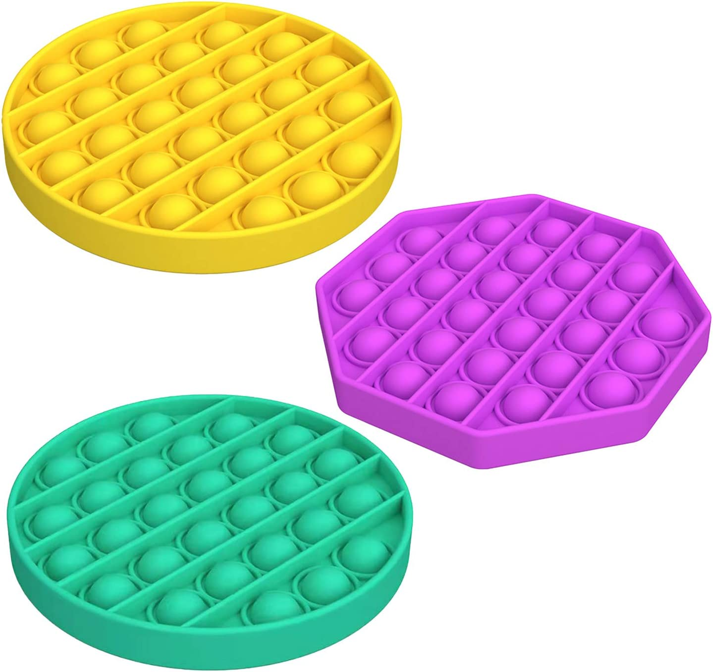 Warju Cheap Push Pop Bubble Fidget Toys 3 Pack, Tactile Logic Game, Great for Kids and Adults