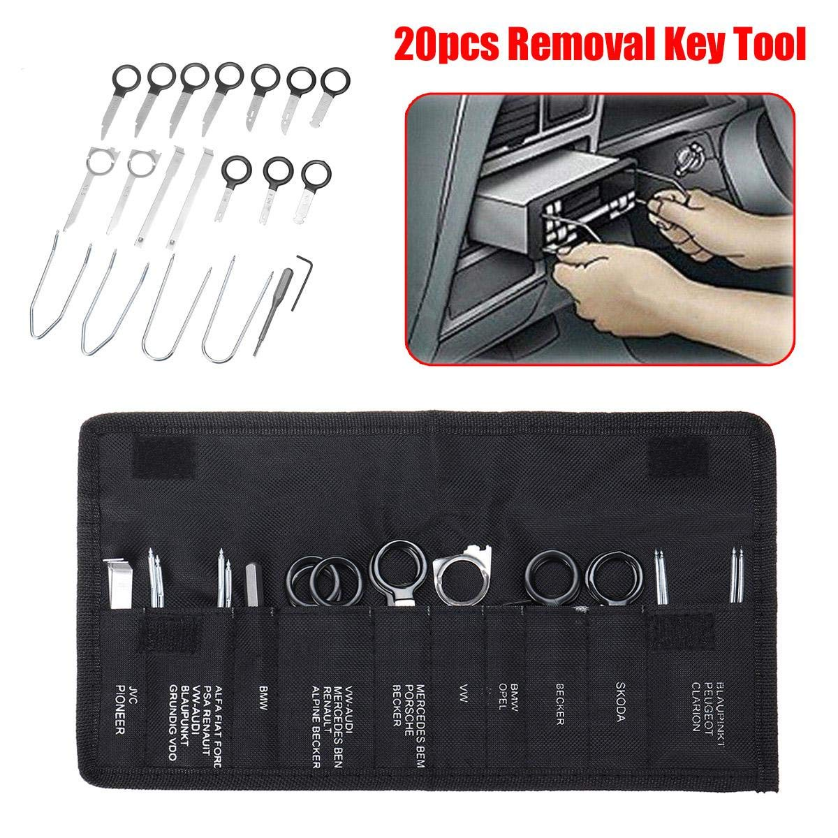 Gavita-Star - 20pcs Car Radio Audio Removal Install Key Kit