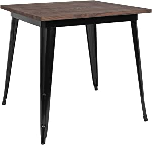 "Flash Furniture 31.5"" Square Black Metal Indoor Cafe Table with Walnut Rustic Wood Top"