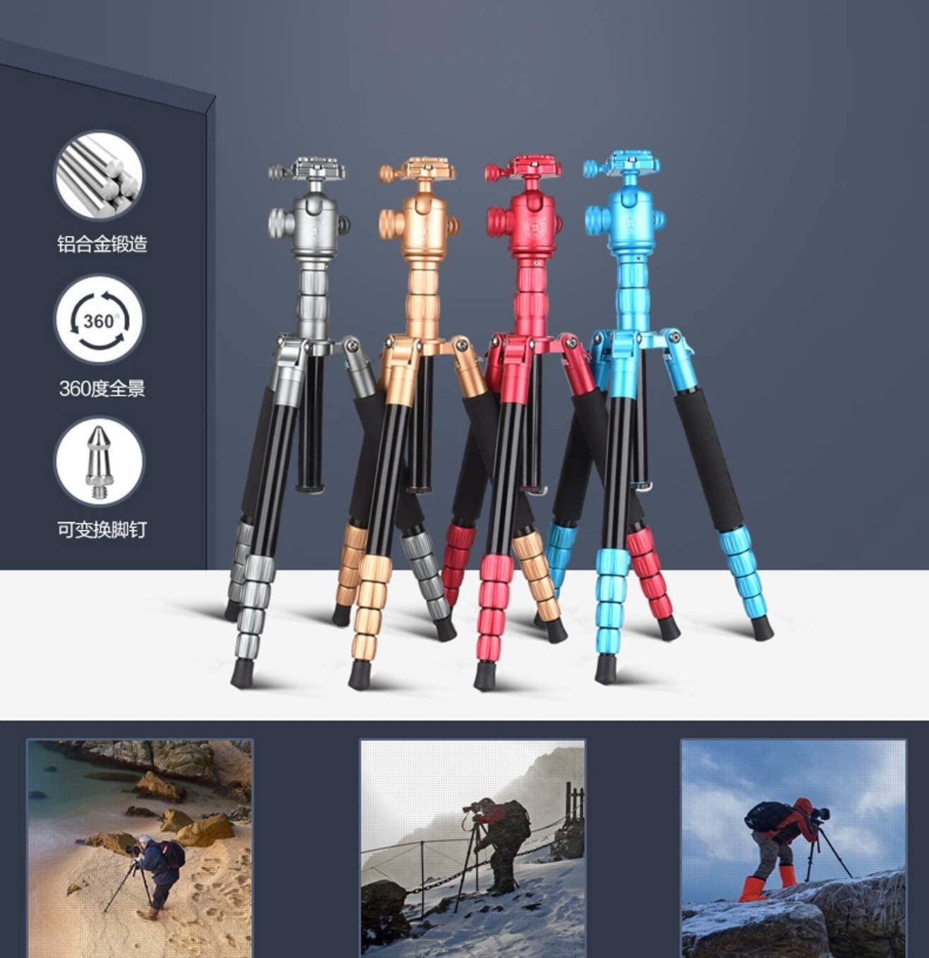 Color : Black LLluckyHW Overhead Tripod Aluminum Video Camera Tripod Monopod 360 Degree Panorama Ball Head Bubble Level Outdoor Compact Cameras Up to 22 Pounds