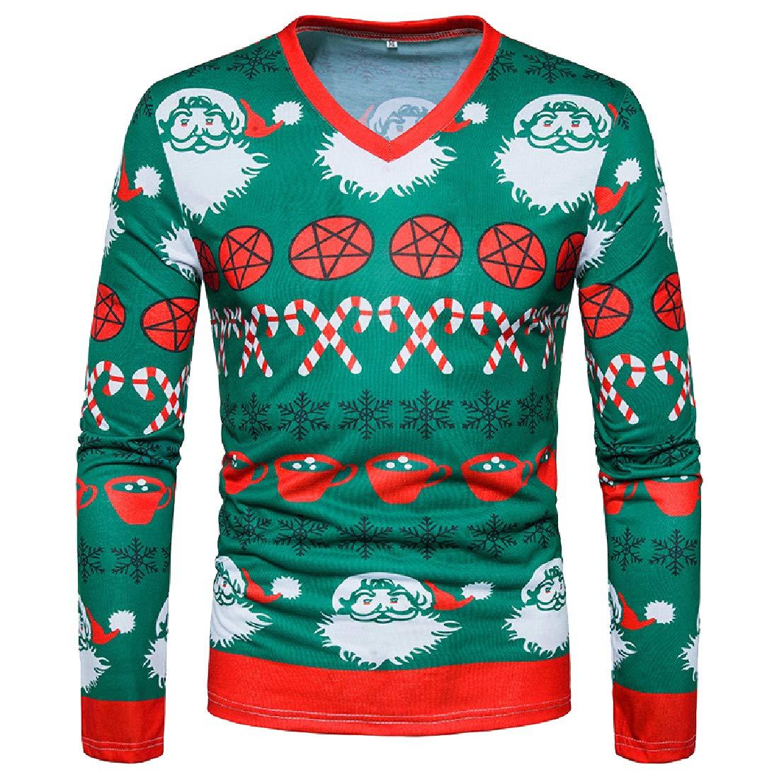 YUNY Mens Pullover Vogue Long-Sleeve Christmas Slim Fit Shirts Tops M