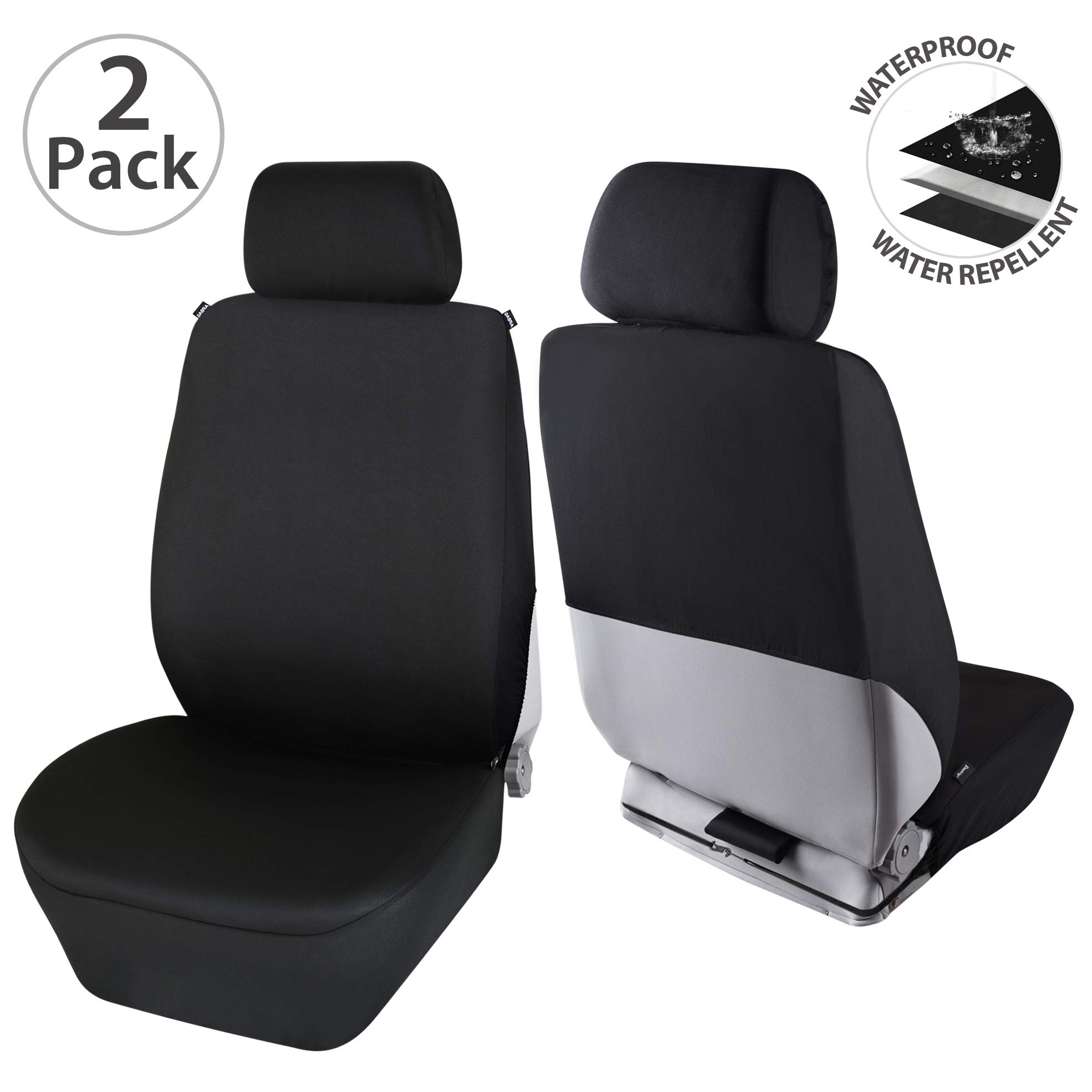 Elantrip Waterproof Neoprene Front Seat Covers Semi Back Universal Fit Water Repellent Bucket Car Seat Protector Airbag Compatible for Auto SUV Truck Van Black 2 PC by Elantrip