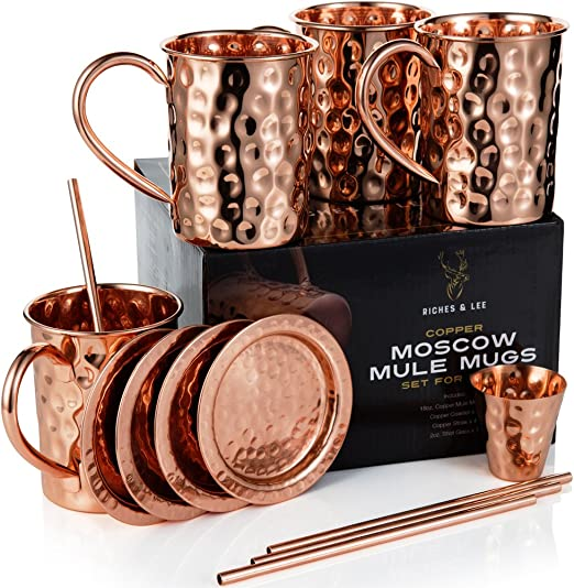 Amazon De Moscow Mule Becher 4er Set Enthalt 4 X 16oz