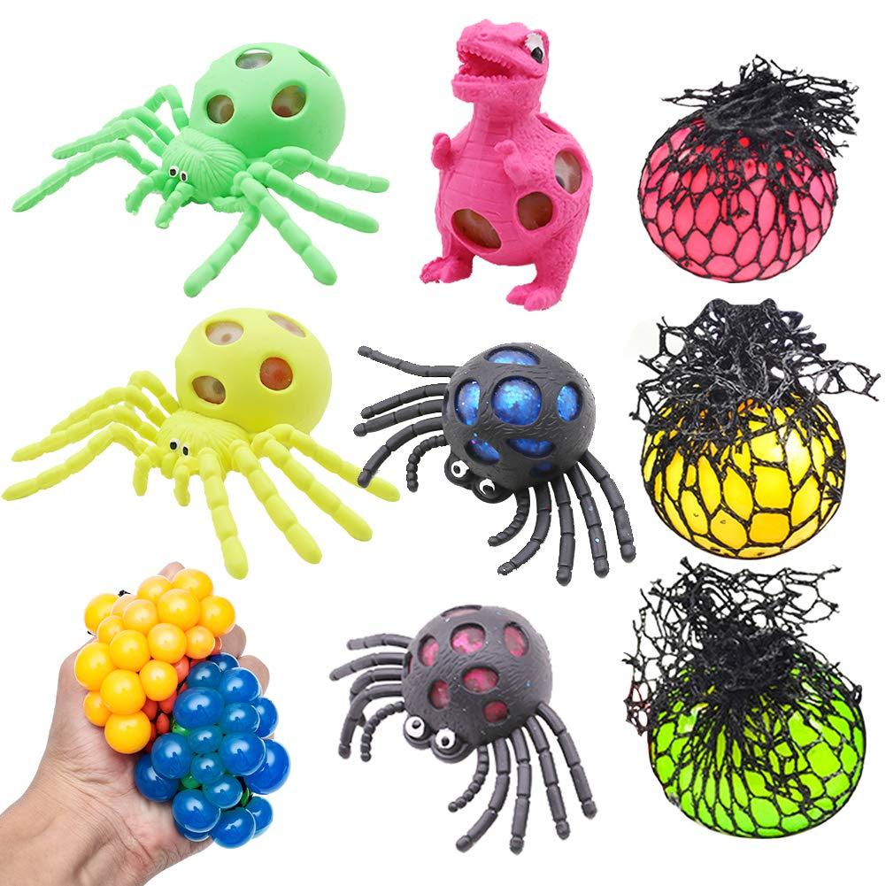 Squishy Mesh Stress Balls, Anti Stress Ball Squishy Light up Ball 8PCS Prime Toys Slime Stress Ball for Kids