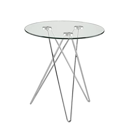 Amazon Com Euro Style Zoey Round Glass Top Side Table With Chromed