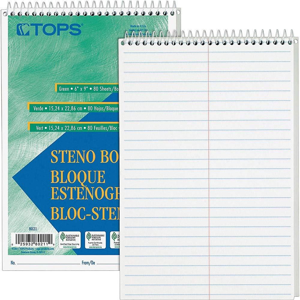 Steno Book, Gregg Rule, 80 Sheets, 6''x9'', 12/PK, White by Tops
