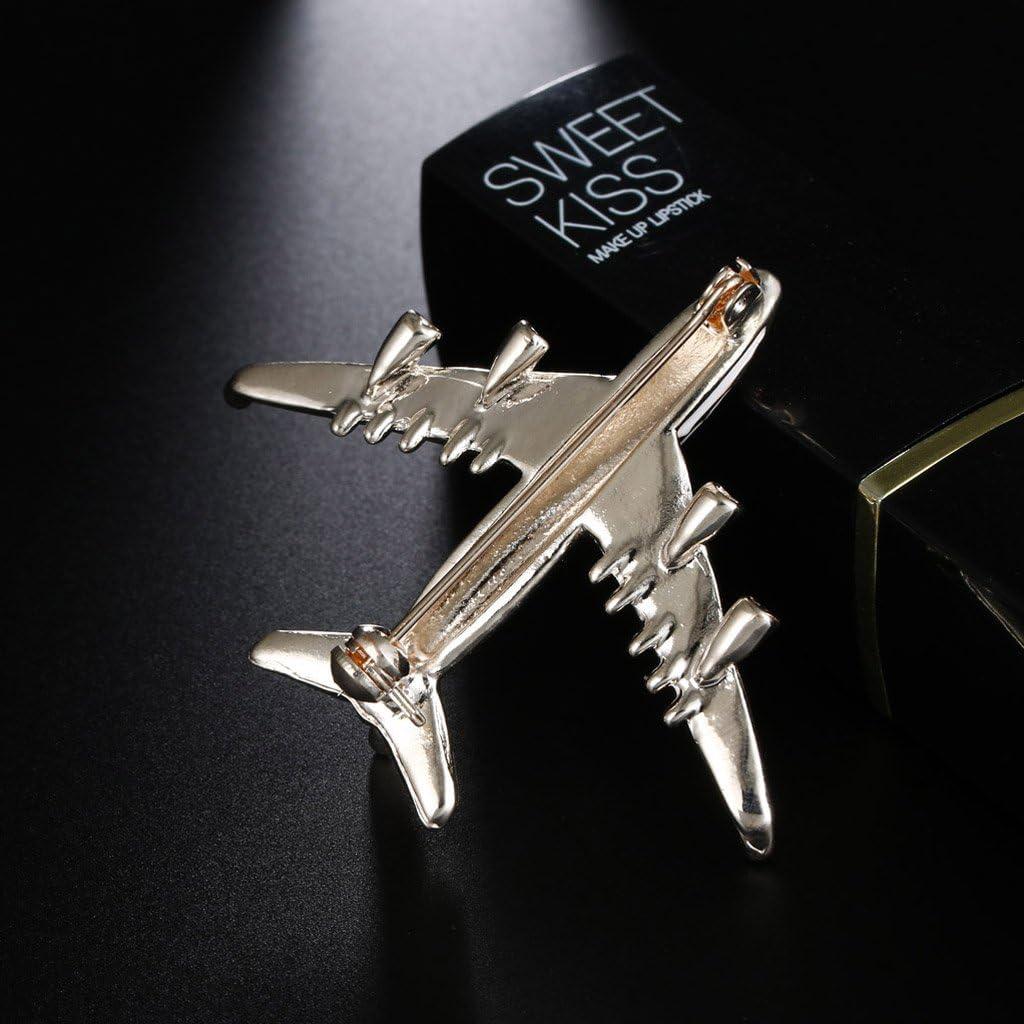 Perfeclan Broche Femme Fantaisie Avion 3D en Alliage Strass Cristal
