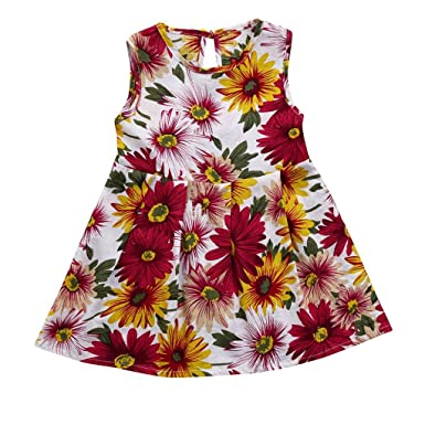 ShiTou Clothes- Toddler Kid Sleeveless Floral Printing Party Dress Outfits (Multicolor, 150)