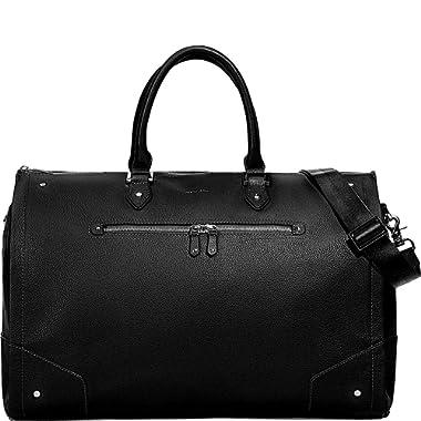 Hook & Albert Women's black garment weekender bag with Gunmetal hardware