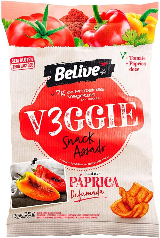Snack V3Ggie Sabor Páprica Defumada com Grãos Vegetais e 7g de Proteínas Vegetais Snack Saudável Belive 35g