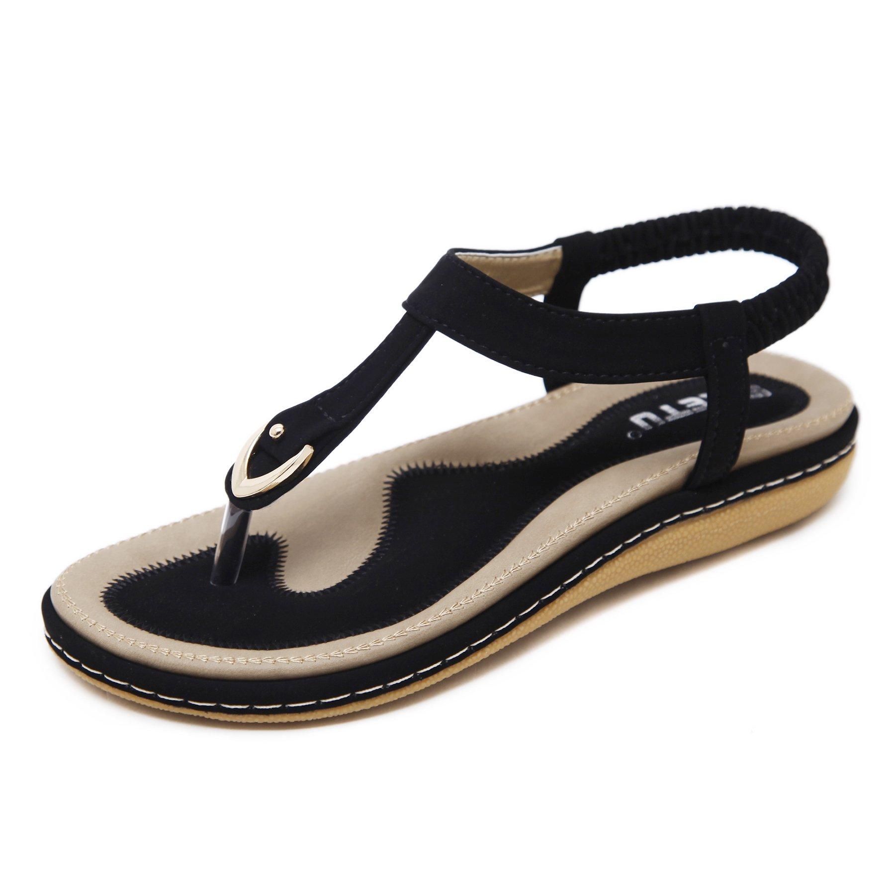 Meeshine Women's Bohemia Flip Flops Summer Beach T-Strap Flat Sandals Comfort Walking Shoes (8, Black)
