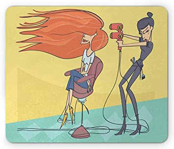 Amazon Com 10 X 12 Hair Salon Mouse Pad Funny Cartoon Illustration Of Day In Beauty Salon Hairdresser Wit Blow Dryer Standard Size Rectangle Non Slip Rubber Mousepad Multicolor Office Products