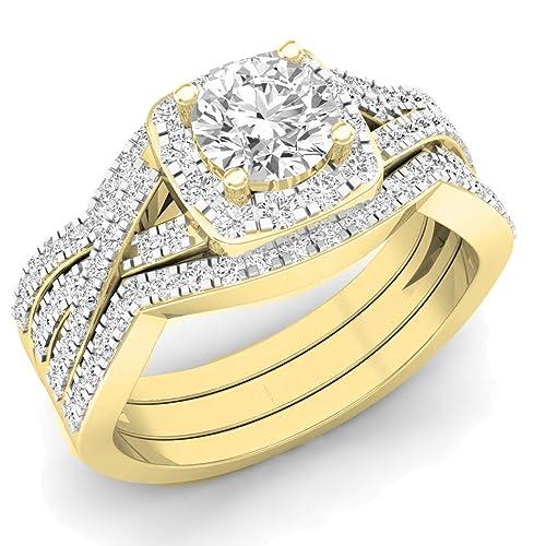 2,05 Carat (quilate) 18 K oro ronda cubic zirconia anillo de compromiso