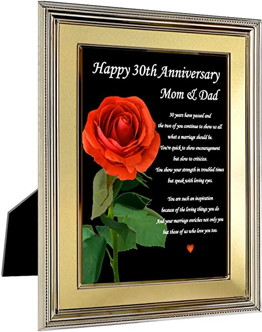 Amazon Com Happy 30th Anniversary Mom And Dad Sweet Poem For