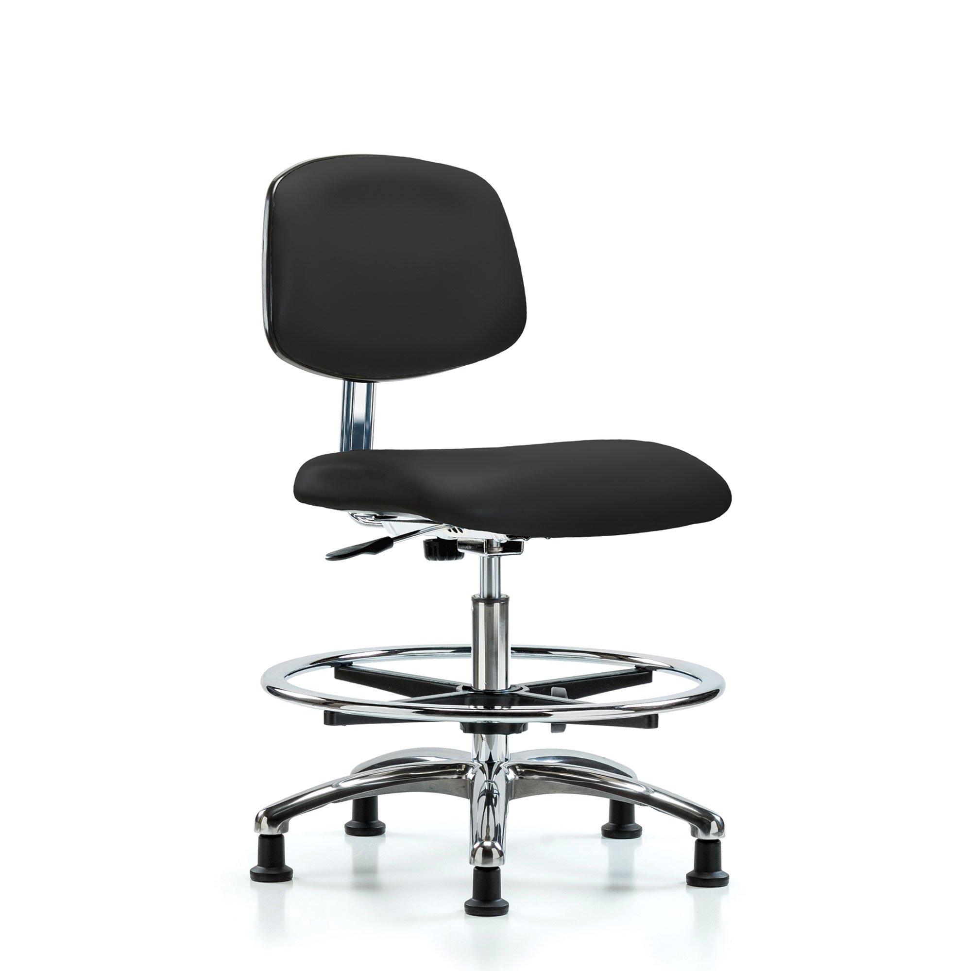 Tall Cleanroom Chair Chrome Base Glides Black by E Com Inc