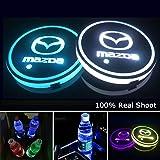 YenCar 車用 LED ドリンクホルダー レインボーコースター 車載 ロゴ ディスプレイライト LEDカーカップホルダー マットパッド (マツダMazda)