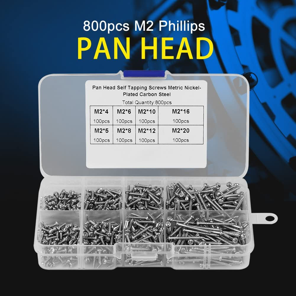 Fydun 800pcs M2 Cross Drive Pan Head Self-Tapping Screws Woodworking Fastener with Box for Electronics Electrical Appliances Machinery Chemical Metallurgy Screws Kit