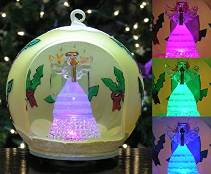 Lighted Christmas Ornament - LED Hand Painted Glass Ball Ornament with  Color Changing LED Lights - - Amazon.com: Lighted Christmas Ornament - LED Hand Painted Glass Ball
