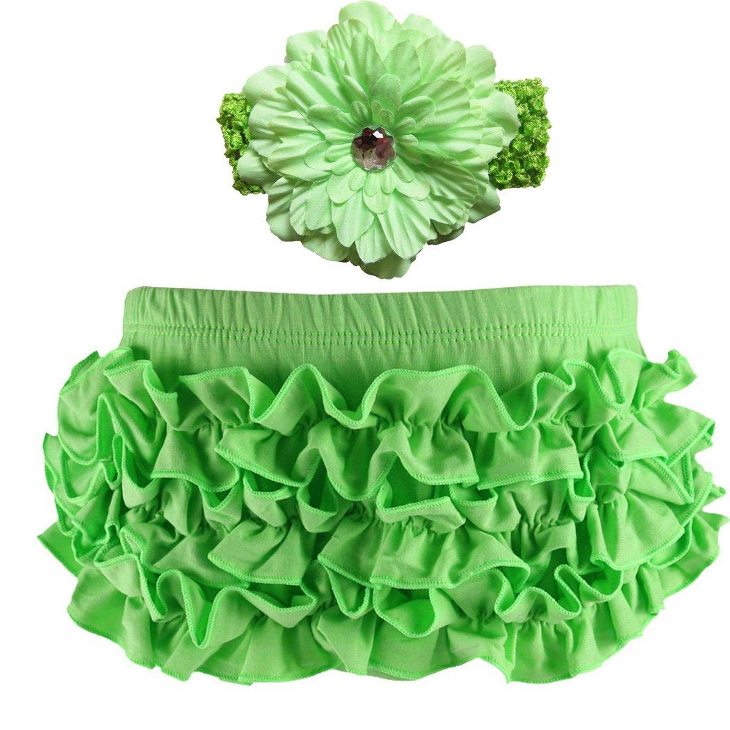 Wennikids Baby Girls Cotton Ruffle Diaper Covers Headband Set Multicolor LC-RS-505