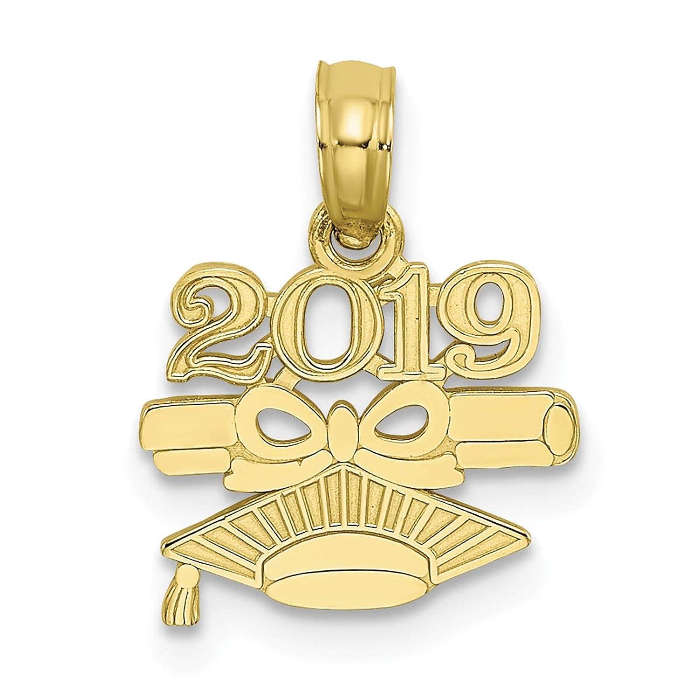 10K Yellow Gold 2019 DIPLOMA /& GRADUATION CAP Charm Pendant