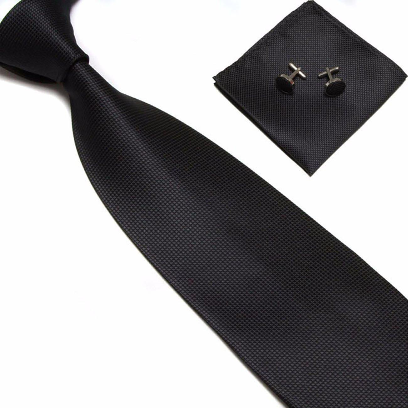 Captain Herren Mikrofaser Hochwertige Designer Anzug Krawatten - Krawatte mit Einstecktuch und Manschettenkn/öpfe 3er Set In 15 verschiedenen Farben