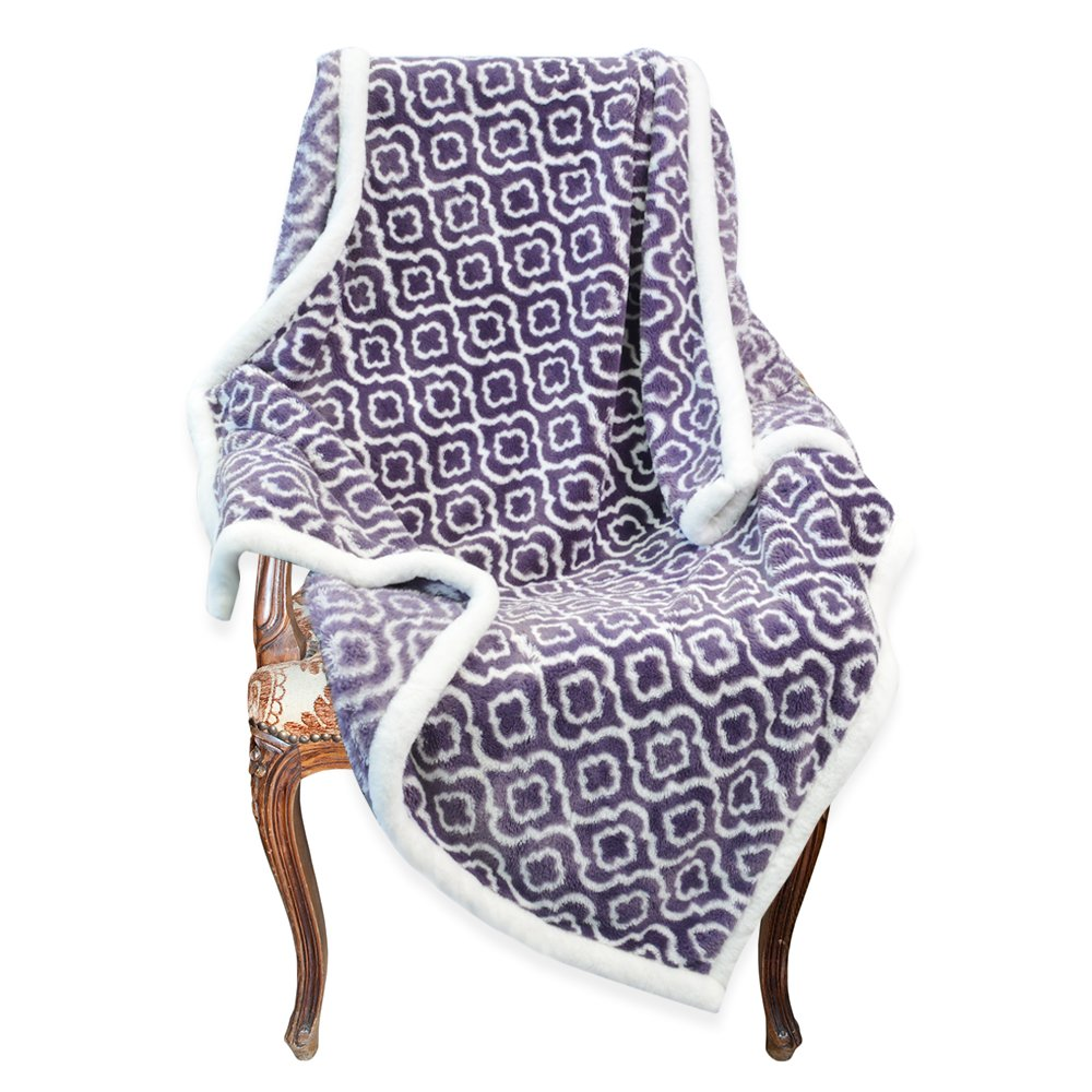 Napa Super Soft Moroccan Fleece Throw Blanket Purple, Lightweight Couch Blanket, Super Warm Bed Blanket, Easy Care 50'' x 70''