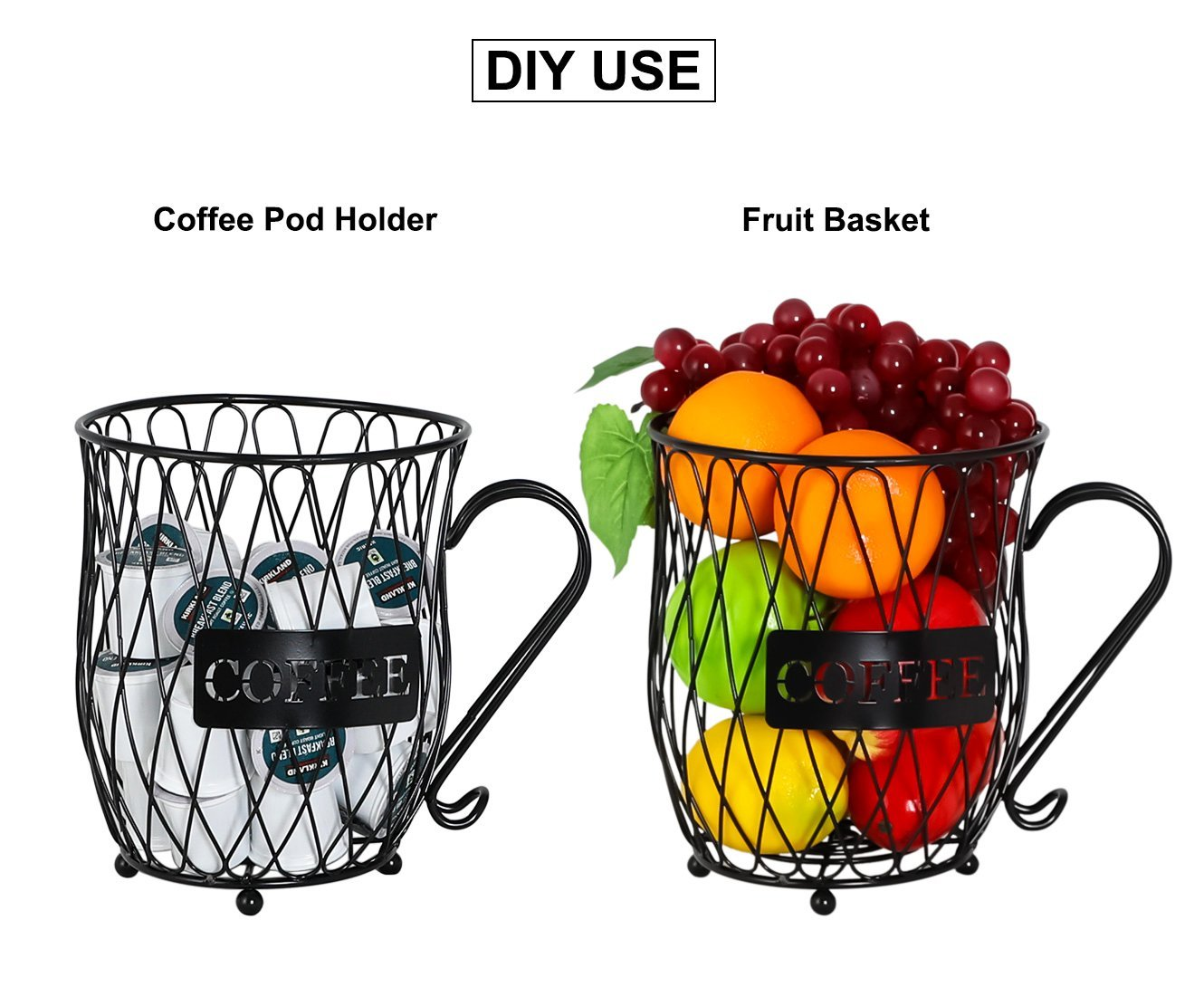 PAG Coffee Pod Holder with Storage and Metal Wire Mug Fruit Basket, Black by PAG (Image #3)